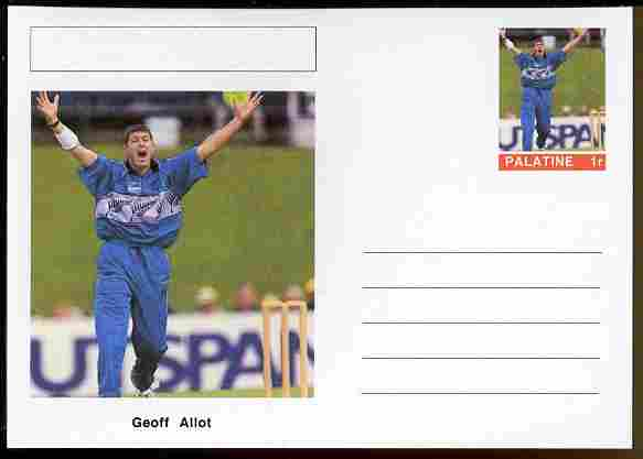 Palatine (Fantasy) Personalities - Geoff Allot (cricket) postal stationery card unused and fine