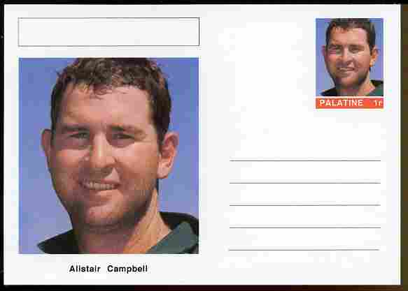 Palatine (Fantasy) Personalities - Alistair Campbell (cricket) postal stationery card unused and fine