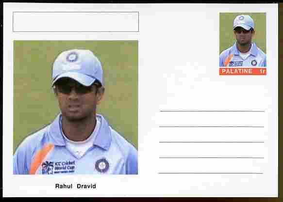 Palatine (Fantasy) Personalities - Rahul Dravid (cricket) postal stationery card unused and fine