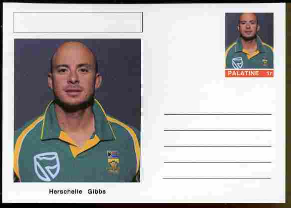 Palatine (Fantasy) Personalities - Herschelle Gibbs (cricket) postal stationery card unused and fine