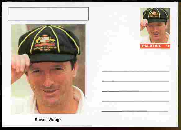 Palatine (Fantasy) Personalities - Steve Waugh (cricket) postal stationery card unused and fine