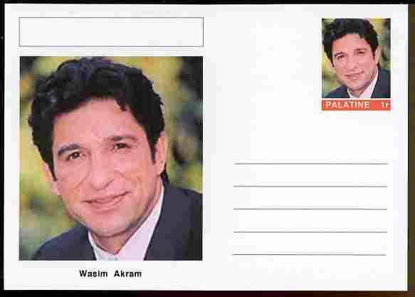 Palatine (Fantasy) Personalities - Wasim Akram (cricket) postal stationery card unused and fine