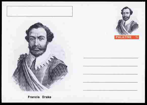 Palatine (Fantasy) Personalities - Francis Drake (explorer) postal stationery card unused and fine
