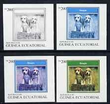 Equatorial Guinea 1977 Dogs EK200 (Beagle) set of 4 imperf progressive proofs on ungummed paper comprising 1, 2, 3 and all 4 colours (as Mi 1136) , stamps on animals   dogs    beagle