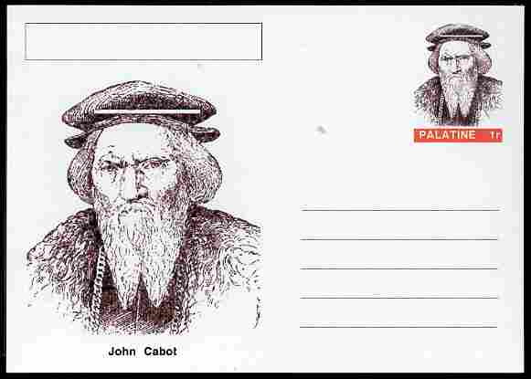 Palatine (Fantasy) Personalities - John Cabot (explorer) postal stationery card unused and fine