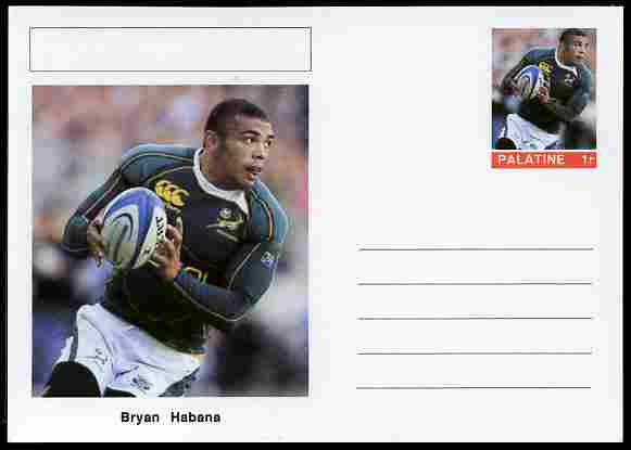Palatine (Fantasy) Personalities - Bryan Habana (rugby) postal stationery card unused and fine