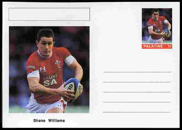 Palatine (Fantasy) Personalities - Shane Williams (rugby) postal stationery card unused and fine