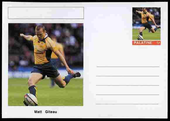 Palatine (Fantasy) Personalities - Matt Giteau (rugby) postal stationery card unused and fine