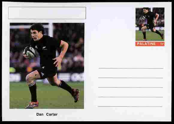 Palatine (Fantasy) Personalities - Dan Carter (rugby) postal stationery card unused and fine
