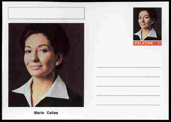 Palatine (Fantasy) Personalities - Maria Callas (opera) postal stationery card unused and fine