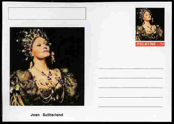 Palatine (Fantasy) Personalities - Joan Sutherland (opera) postal stationery card unused and fine