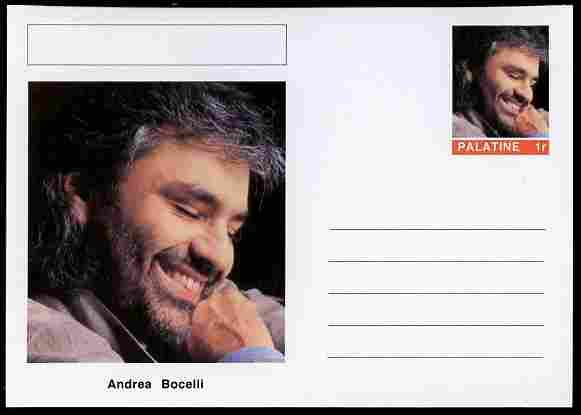 Palatine (Fantasy) Personalities - Andrea Bocelli (opera) postal stationery card unused and fine