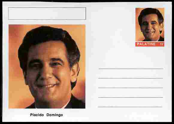 Palatine (Fantasy) Personalities - Placido Domingo (opera) postal stationery card unused and fine