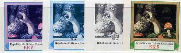 Equatorial Guinea 1977 European Animals EK5 (Stoat and Wild Mushrooms) set of 4 imperf progressive proofs on ungummed paper comprising 1, 2, 3 and all 4 colours (as Mi 1139)