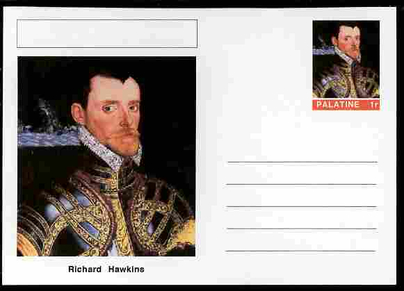 Palatine (Fantasy) Personalities - Richard Hawkins (explorer) postal stationery card unused and fine