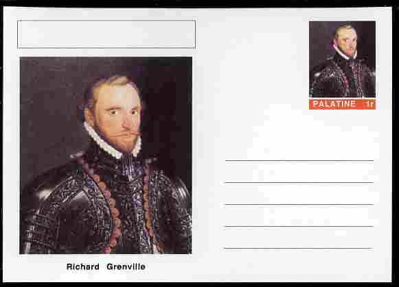 Palatine (Fantasy) Personalities - Richard Grenville (explorer) postal stationery card unused and fine