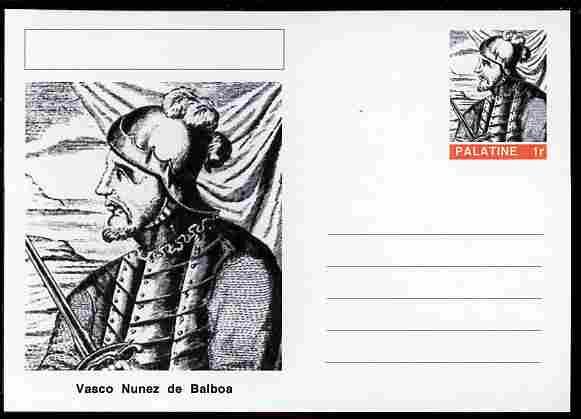 Palatine (Fantasy) Personalities - Vasco Nunez de Balboa (explorer) postal stationery card unused and fine