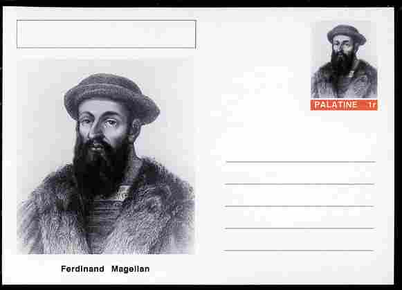 Palatine (Fantasy) Personalities - Ferdinand Magellan (explorer) postal stationery card unused and fine