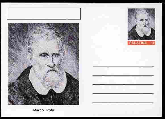 Palatine (Fantasy) Personalities - Marco Polo (explorer) postal stationery card unused and fine