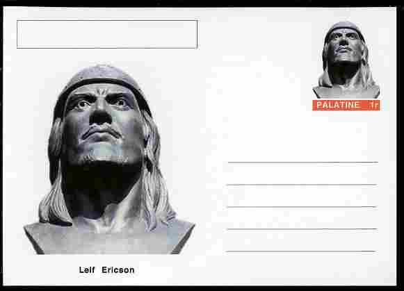 Palatine (Fantasy) Personalities - Leif Ericson (explorer) postal stationery card unused and fine
