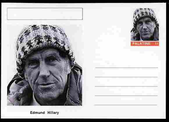 Palatine (Fantasy) Personalities - Edmund Hillary (explorer) postal stationery card unused and fine