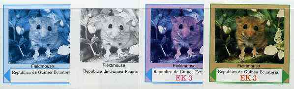 Equatorial Guinea 1977 European Animals EK3 (Fieldmouse) set of 4 imperf progressive proofs on ungummed paper comprising 1, 2, 3 and all 4 colours (as Mi 1138)