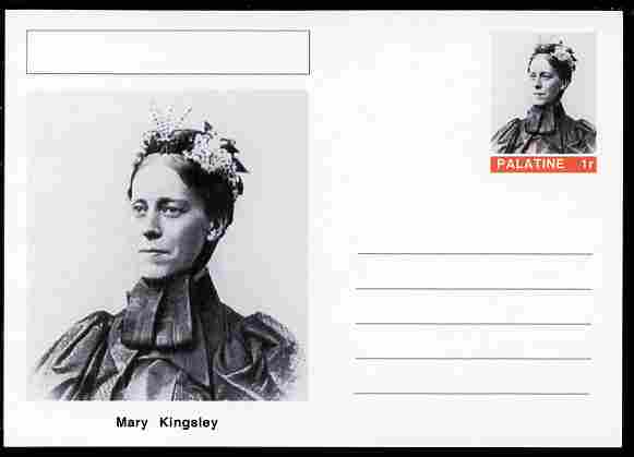 Palatine (Fantasy) Personalities - Mary Kingsley (explorer) postal stationery card unused and fine