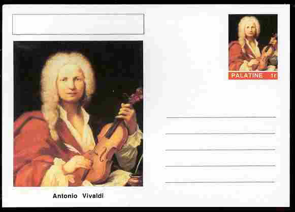Palatine (Fantasy) Personalities - Antonio Vivaldi (composer) postal stationery card unused and fine