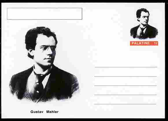 Palatine (Fantasy) Personalities - Gustav Mahler (composer) postal stationery card unused and fine