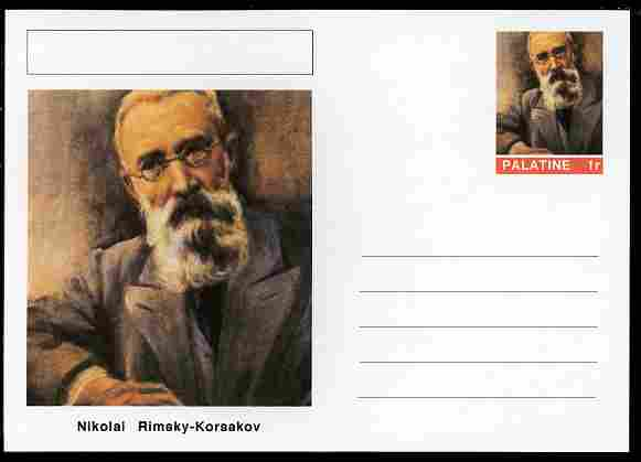 Palatine (Fantasy) Personalities - Nikolai Rimsky-Korsakov (composer) postal stationery card unused and fine, stamps on personalities, stamps on music, stamps on composers, stamps on opera