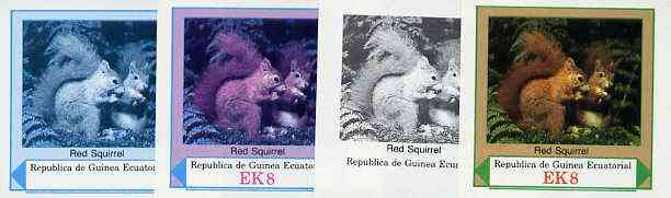 Equatorial Guinea 1977 European Animals EK8 (Red Squirrel) set of 4 imperf progressive proofs on ungummed paper comprising 1, 2, 3 and all 4 colours (as Mi 1140)