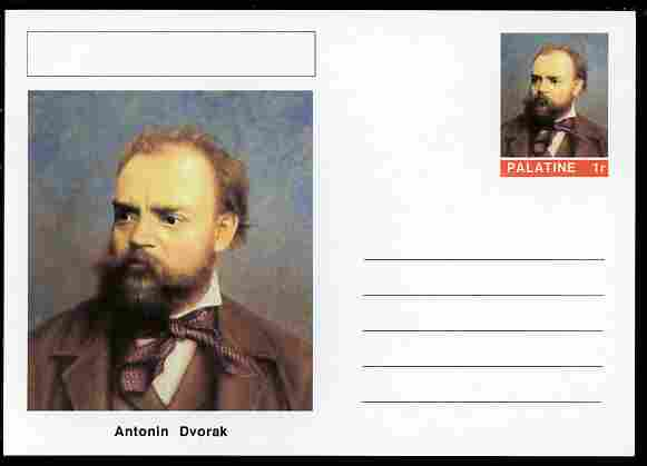 Palatine (Fantasy) Personalities - Antonin Dvorak (composer) postal stationery card unused and fine