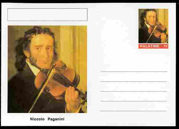 Palatine (Fantasy) Personalities - Niccolo Paganini (composer) postal stationery card unused and fine