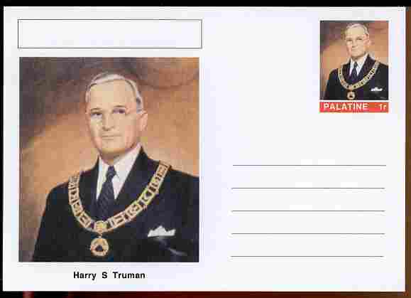 Palatine (Fantasy) Personalities - Harry S Truman (33rd USA President) postal stationery card unused and fine