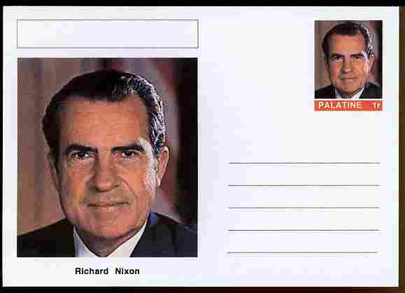 Palatine (Fantasy) Personalities - Richard Nixon (37th USA President) postal stationery card unused and fine