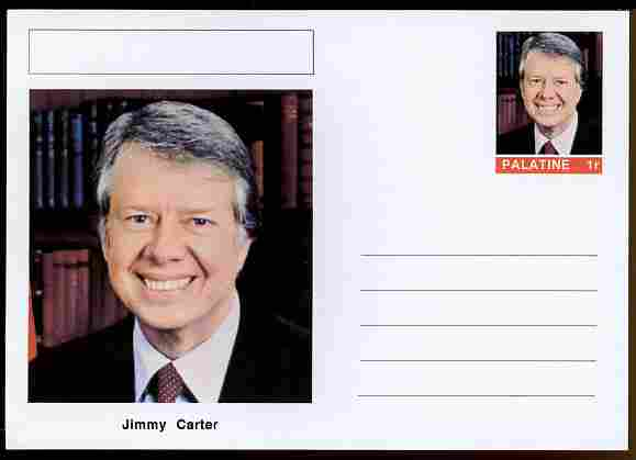 Palatine (Fantasy) Personalities - Jimmy Carter (39th USA President) postal stationery card unused and fine