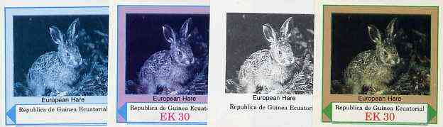 Equatorial Guinea 1977 European Animals EK30 (European Hare) set of 4 imperf progressive proofs on ungummed paper comprising 1, 2, 3 and all 4 colours (as Mi 1142)