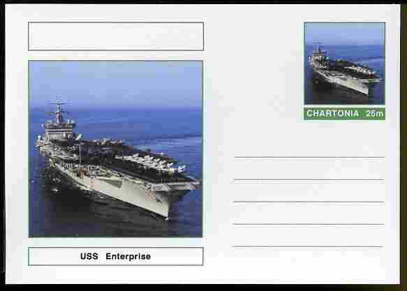Chartonia (Fantasy) Ships - USS Enterprise postal stationery card unused and fine