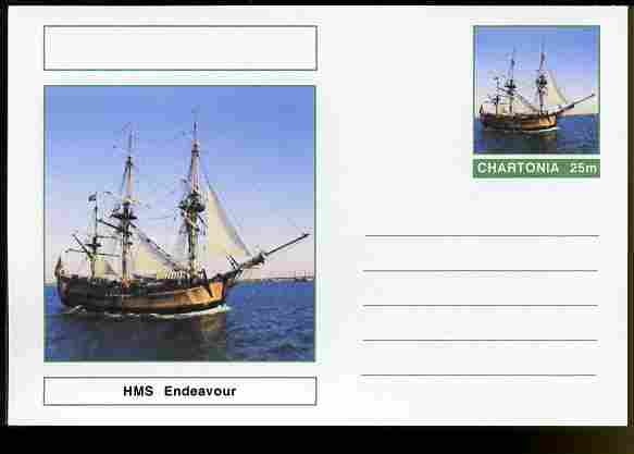 Chartonia (Fantasy) Ships - HMS Endeavour postal stationery card unused and fine