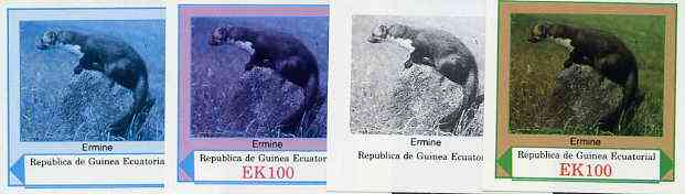 Equatorial Guinea 1977 European Animals EK100 (Ermine) set of 4 imperf progressive proofs on ungummed paper comprising 1, 2, 3 and all 4 colours (as Mi 1144)