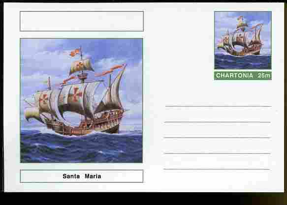 Chartonia (Fantasy) Ships - Santa Maria postal stationery card unused and fine