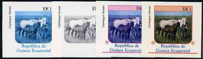 Equatorial Guinea 1976 Horses EK1 (Camargue Horses) set of 4 imperf progressive proofs on ungummed paper comprising 1, 2, 3 and all 4 colours (as Mi 805)