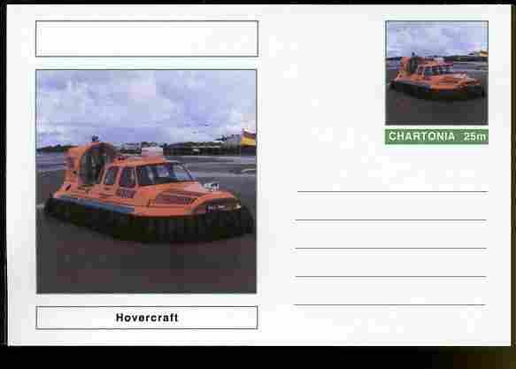 Chartonia (Fantasy) Ships - Hovercraft postal stationery card unused and fine