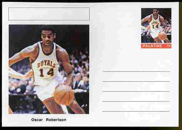 Palatine (Fantasy) Personalities - Oscar Robertson (basketball) postal stationery card unused and fine
