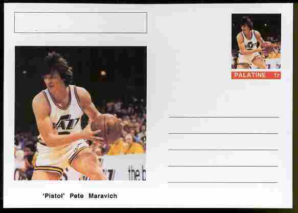 Palatine (Fantasy) Personalities - 'Pistol' Pete Maravich (basketball) postal stationery card unused and fine