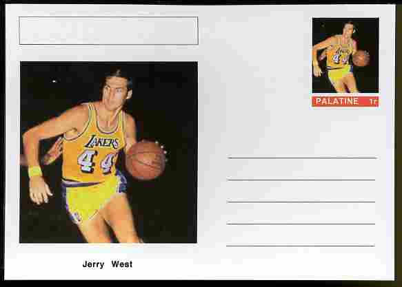 Palatine (Fantasy) Personalities - Jerry West (basketball) postal stationery card unused and fine