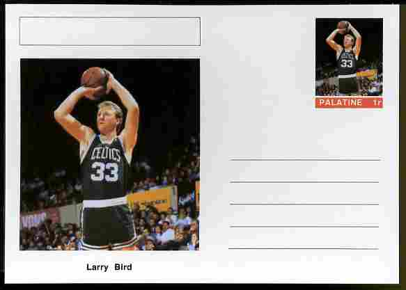 Palatine (Fantasy) Personalities - Larry Bird (basketball) postal stationery card unused and fine