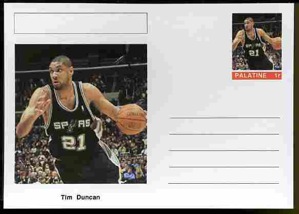 Palatine (Fantasy) Personalities - Tim Duncan (basketball) postal stationery card unused and fine, stamps on personalities, stamps on sport, stamps on basketball