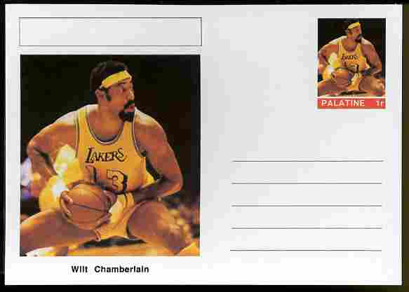 Palatine (Fantasy) Personalities - Wilt Chamberlain (basketball) postal stationery card unused and fine