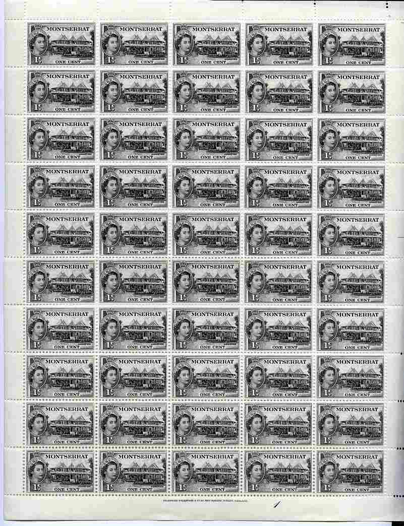 Montserrat 1953-62 QEII Government House 1c black in complete sheet of 50 unmounted mint SG 137